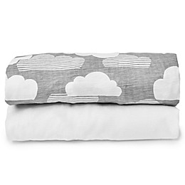 Skip*Hop® Travel Crib 2-Piece Fitted Sheet Set in White/Grey