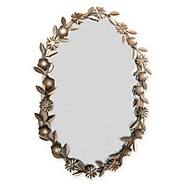 Marmalade Garden Hues Floral Oval Mirror in Rose Gold