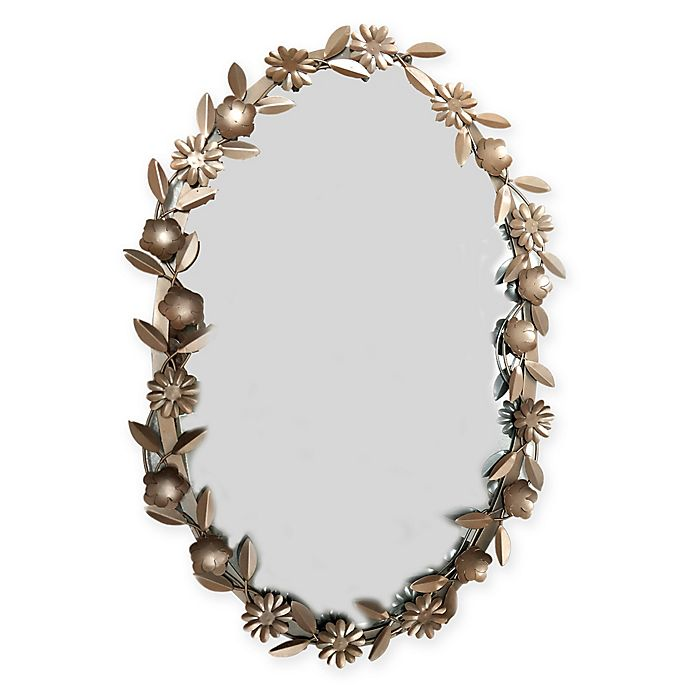 Alternate image 1 for Marmalade Garden Hues Floral Oval Mirror in Rose Gold