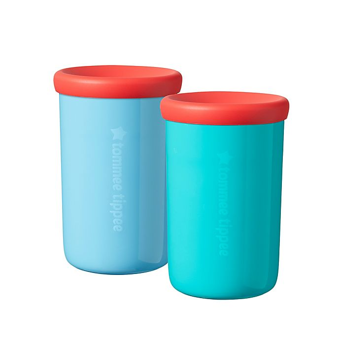 Alternate image 1 for Tommee Tippee® Easiflow 360 2-Pack 8 oz. Plastic Toddler Drinking Cups in Aqua/Teal