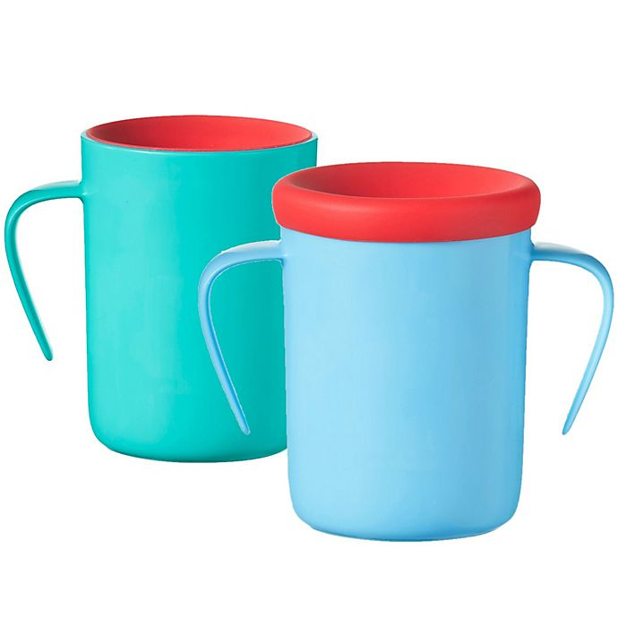 Alternate image 1 for Tommee Tippee® Easiflow 360 2-Pack 7 oz. Plastic Toddler Trainer Cups in Aqua/Teal