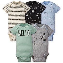 Gerber® Onesies® 5-Pack Bear Bodysuits in Grey/Blue