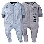 Gerber® Size 0-3M 2-Pack Bear Sleep 'n Play in Blue/Grey