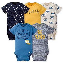 Gerber® Onesies® 5-Pack Fox Bodysuits in Gold/Blue