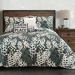Lush Décor Camouflage Leaves Reversible Quilt Set in Green