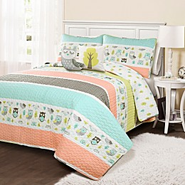 Lush Décor Owl Stripe Reversible Quilt Set in Coral
