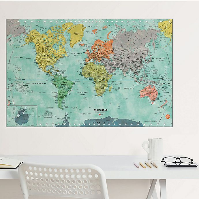 Alternate image 1 for WallPops!™ World Dry Erase Map Vinyl Wall Decal