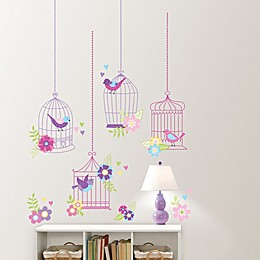 Wallpops!™ Chirping the Day Away 27-Piece Vinyl Wall Decals in Pink/Purple