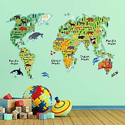 Kids World Map Wall Decal