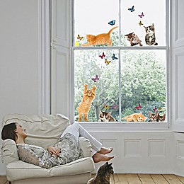 Playful Cats and Butterflies Window Decal