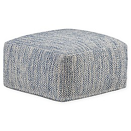 Simpli Home™ Nate Square Pouf in Denim Cotton