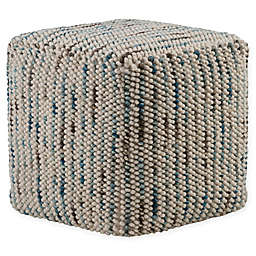 Simpli Home™ Zoey Cube Woven Pouf in Multicolor Cotton and Wool