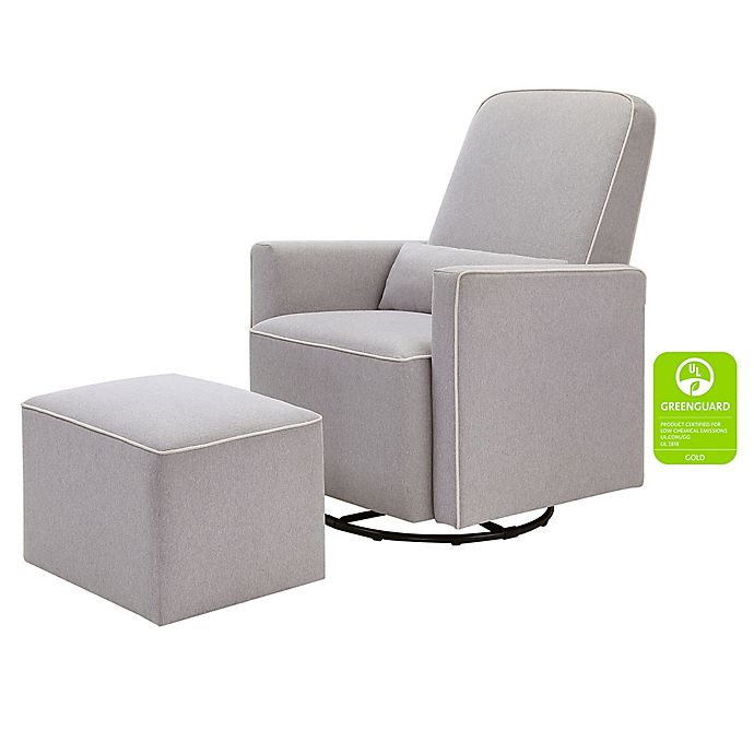 33827ef3ab1 DaVinci Olive Upholstered Swivel Glider and Ottoman in Grey with Cream  Piping