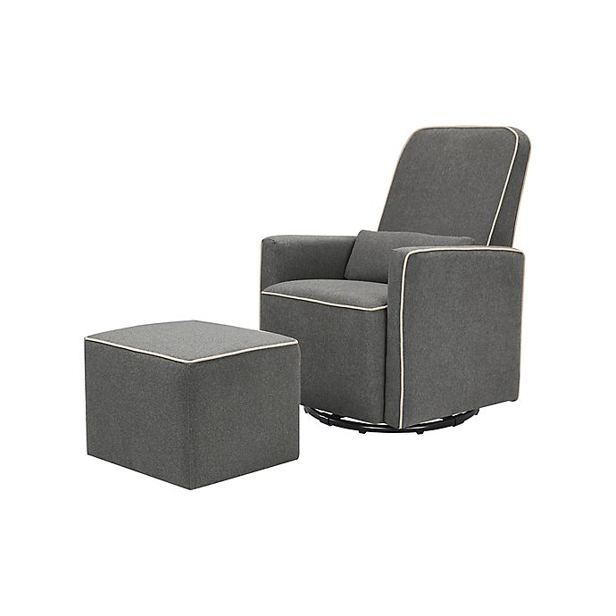Phenomenal Davinci Olive Glider And Ottoman In Dark Grey Cream Buybuy Machost Co Dining Chair Design Ideas Machostcouk