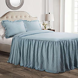 Lush Décor Ruffle 3-Piece King Bedspread Set in Lake Blue
