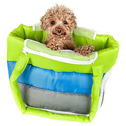 Pet Life™ Bubble-Poly Tri-Colored Insulated Pet Carrier in Green/Blue