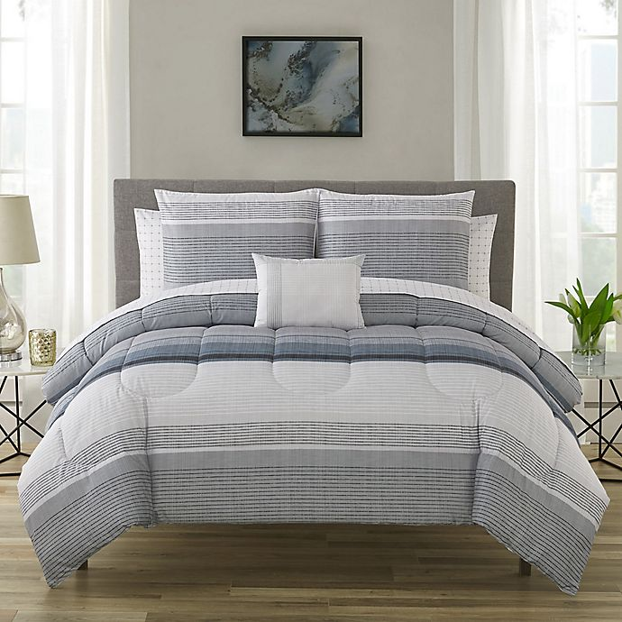 Alternate image 1 for Nile 12-Piece Reversible King Comforter Set in Slate Blue