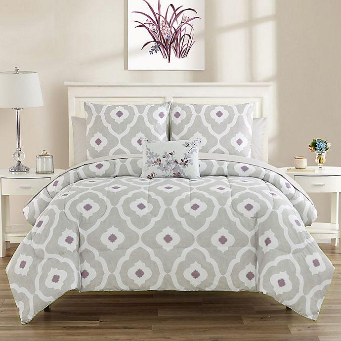 Alternate image 1 for Sara 12-Piece Reversible California King Comforter Set in Plum