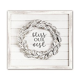 "Bee & Willow™ Home ""Bless Our Nest"" Shiplap Wall Art in White"