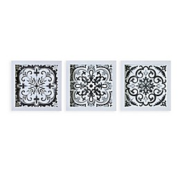 Madison Park™ Abstract Tiles Shadow Box Art in Black/White (Set of 3)