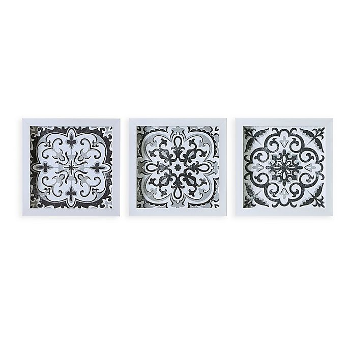 Alternate image 1 for Madison Park™ Abstract Tiles Shadow Box Art in Black/White (Set of 3)