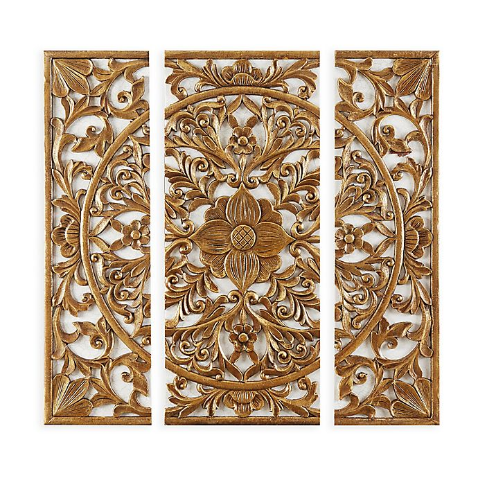 Madison Park Abstract Medallion Canvas Wall Art In Gold Set Of 3 Bed Bath Beyond