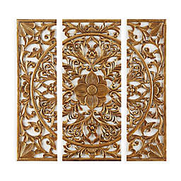 Madison Park Abstract Medallion 12-Inch x 28-Inch Canvas Wall Art in Gold (Set of 3)