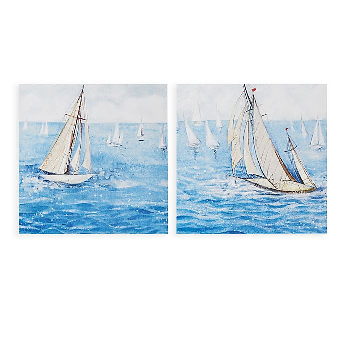 Alternate image 1 for Madison Park™ Sailing Regatta Canvas Wall Art in Blue (Set of 2)