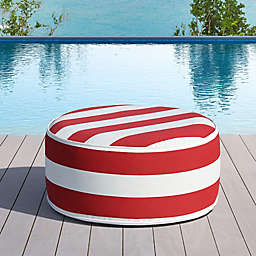 OVE Decors Marlowe Striped Inflatable Outdoor Ottoman in Red/White