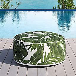 OVE Decors Marlowe Foliage Inflatable Outdoor Ottoman in Tropical Green