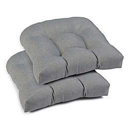 Textured Solid Outdoor U Chair Cushions in Ash Grey (Set of 2)