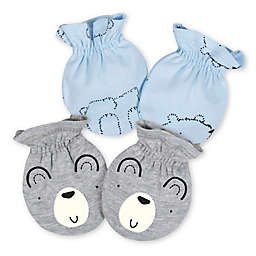 Gerber® Size 0-3M 2-Pack Bear Mittens in Grey/Blue