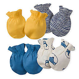 Gerber® Size 0-3M 4-Pack Fox Mittens in Blue