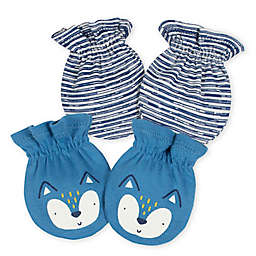Gerber® Size 0-3M 2-Pack Fox Mittens in Blue