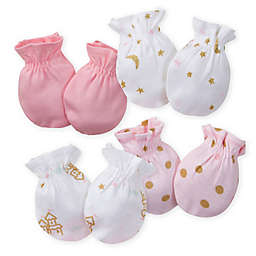 Gerber® Size 0-3M 4-Pack Princess Mittens in Pink