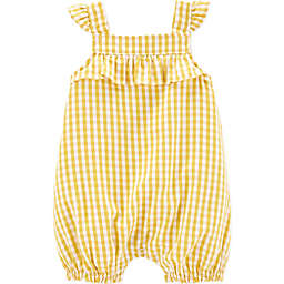 carter's® Size 18M Gingham Flutter Romper in Yellow
