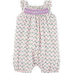 carter's® Size 18M Geo Print Embroidered Romper in Pink/Olive