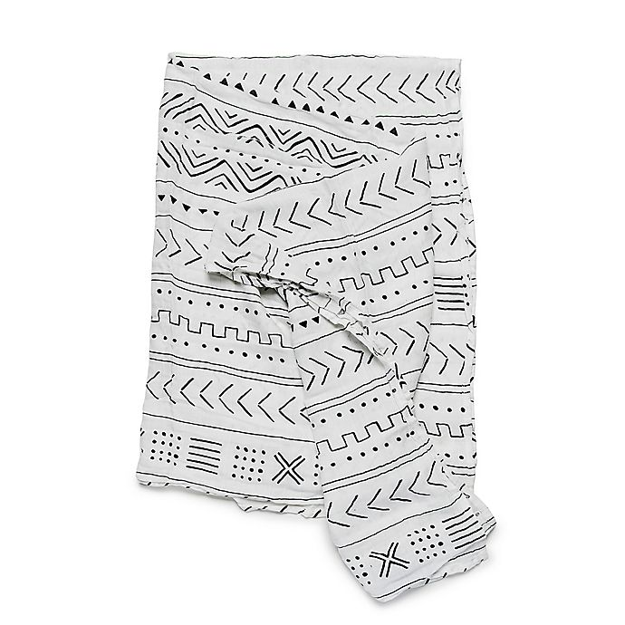 Alternate image 1 for Loulou Lollipop White Mudcloth Swaddle Blanket