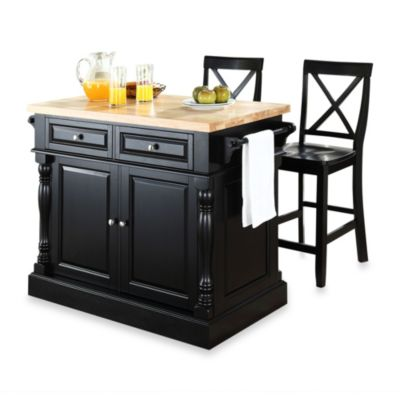 Crosley Butcher Block Kitchen Island with 24-Inch X-Back Stools Bed Bath & Beyond
