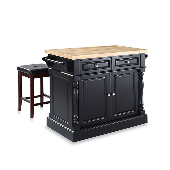 Crosley Butcher Block Top Kitchen Island with Matching Stools Bed Bath & Beyond