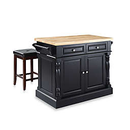Crosley Butcher Block Top Kitchen Island with Matching Stools