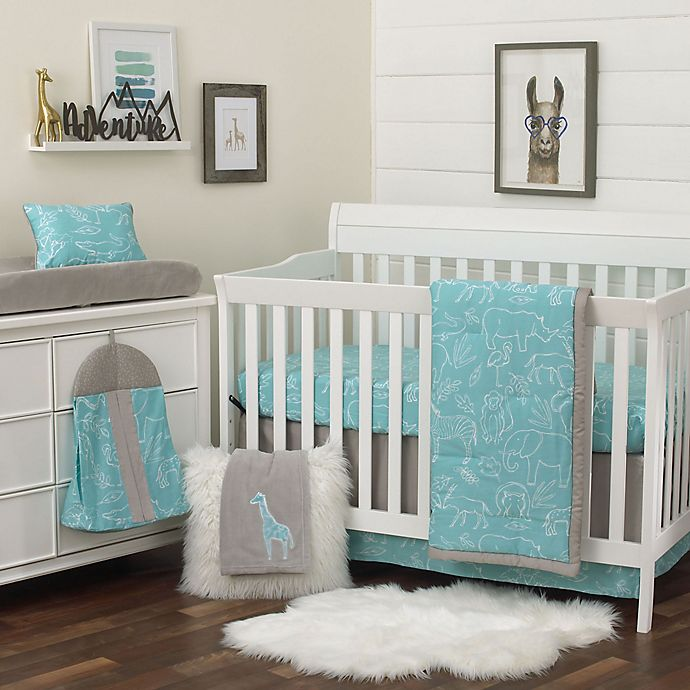 Alternate image 1 for NoJo® Dreamer Modern Safari Crib Bedding Set in Turquoise