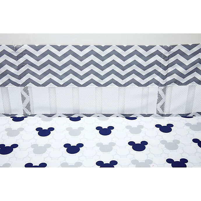 Alternate image 1 for Disney® Let's Go Mickey 4-Piece Secure-Me Crib Liner Set in Navy