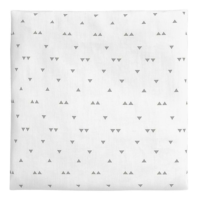Alternate image 1 for carter's® Triangles Sateen Fitted Crib Sheet in White/Grey
