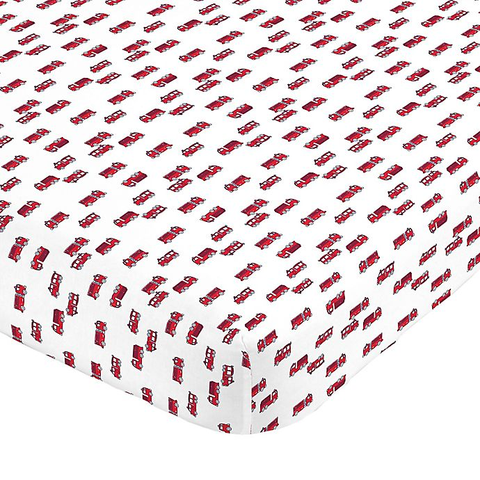 Alternate image 1 for carter's® Fire Truck Sateen Fitted Crib Sheet in Red/White