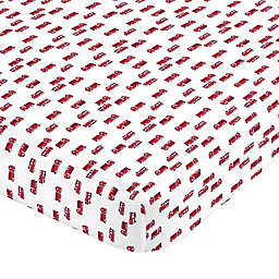 carter's® Fire Truck Sateen Fitted Crib Sheet in Red/White