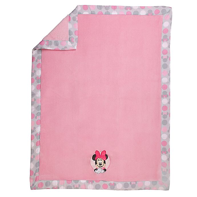 Alternate image 1 for Disney® Minnie Mouse Polka Dots Baby Blanket in Light Pink