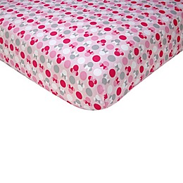 Disney® Minnie Mouse Polka Dots Fitted Crib Sheet in Light Pink