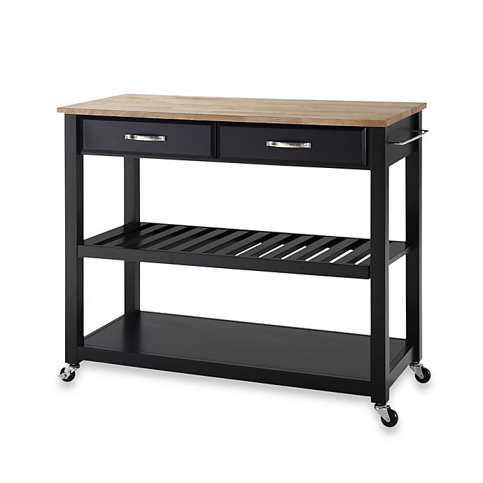 Alternate image 1 for Crosley Natural Wood Top Rolling Kitchen Cart/Island With Removable Shelf in Black