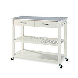 Crosley Stainless Steel Top Rolling Kitchen Cart/Island With Removable Shelf